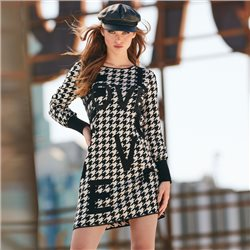 Monari Houndstooth Print Dress Black