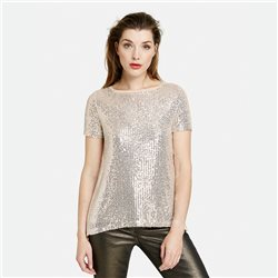 Taifun Sequin Top With Pleat Back Beige