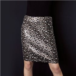 Taifun Leopard Print Sequin Skirt Black