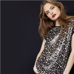 Taifun Leopard Print Sequin Top Black