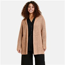 Samoon Knitted Cardigan With Hood Beige