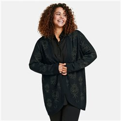 Samoon Jacquard Cardigan With Shimmer Detail Black