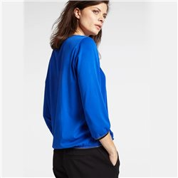 Sandwich Round Neck Luxer Trim Top Blue