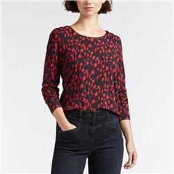 Sandwich All Over Print Top With Longsleeves Red