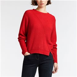Sandwich Round Neck Jumper With Soft Rib Effect Red