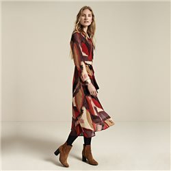 Sandwich Colorful Dress With All Over Print And Belt Detail Red