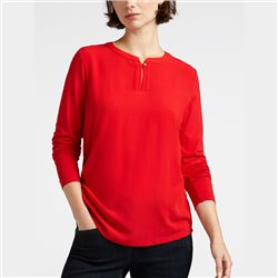 Sandwich Blouse Top With Button Neckline Red