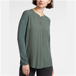 Sandwich Blouse Top With Button Neckline Green