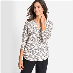 Olsen Top With Allover Zebra Print Ivory