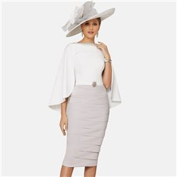 Ronald Joyce 991625 Dress With Cape Taupe