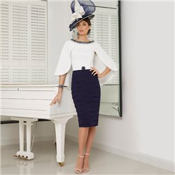 Ronald Joyce 991625 Dress With Cape Navy