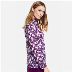 Gerry Weber Long Sleeved Top With Floral Burnout Look Lilac