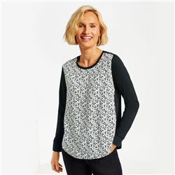 Gerry Weber Long Sleeved Top With Printed Front Black
