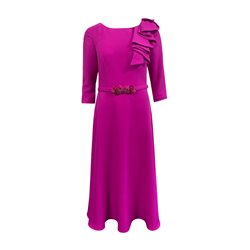 Ronald Joyce 29502 Dress With Ruffle Detail Magenta