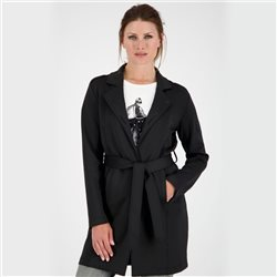Monari Longline Jacket With Tie Belt Black