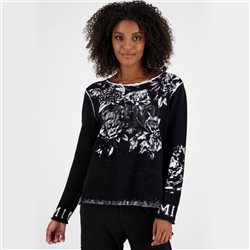 Monari Round Neck Floral Jumper Black