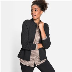 Olsen Sweat Jacket With Stand-Up Collar And Two-Way Zip Black