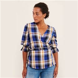 Part Two Gunes Check Blouse Blue