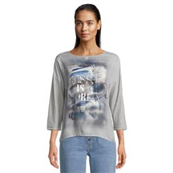 Betty & Co Graphic Print Top Grey
