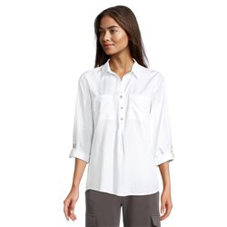 Betty & Co Cotton Shirt With Turn Up Sleeves White