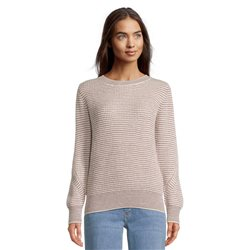 Betty & Co Knitted Jumper With Stripe Detail Cream