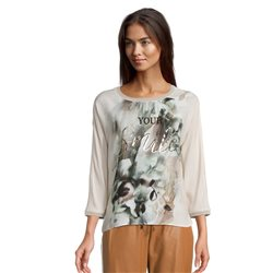 Betty & Co Print Top With Ribbed Neckline Beige