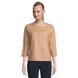 Betty Barclay Leather Look Top Camel