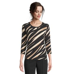 Betty Barclay Animal Print Top With Ribbed Neckline Black