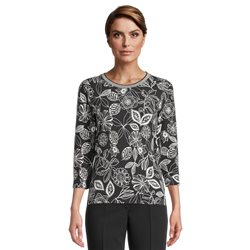 Betty Barclay Floral Print Top With Ribbed Neckline Black