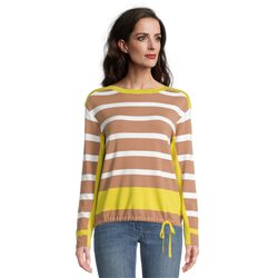 Betty Barclay Fine Knit Jumper With Block Stripes Camel