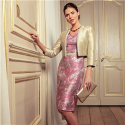 Linea Raffaelli Pink Floral Dress With Gold Bolero