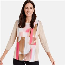 Gerry Weber Abstract Front Print Top Truffle