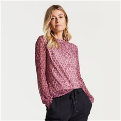 Gerry Weber Retro Print Mesh Top Pink
