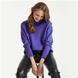 Taifun Stand-Up Collar Sweater With Button Placket Purple