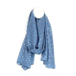 Pom Scarf With Rose Gold Dots Blue
