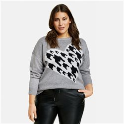 Samoon Jumper With Houndstooth Heart Grey