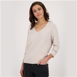 Monari 3/4 Sleeve V Neck Purl Knit Jumper Beige