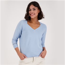 Monari 3/4 Sleeve V Neck Purl Knit Jumper Blue