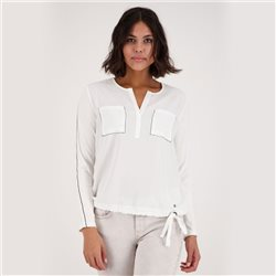 Monari Blouse Shirt With Rhinestone Pocket Detail Off White