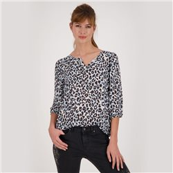 Monari Leo Print Blouse With Hem Detail Blue