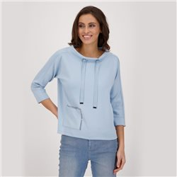 Monari 3/4 Sleeve Sweatshirt With Patch Pocket Detail Blue