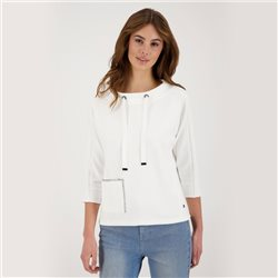 Monari 3/4 Sleeve Sweatshirt With Patch Pocket Detail Off White