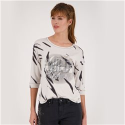 Monari 3/4 Sleeve Animal Look Top Beige