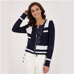 Monari Colour Block Cardigan Navy