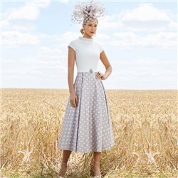 Ronald Joyce 991749 Dress With Spot Skirt Taupe
