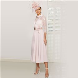 Ronald Joyce 991606 Dress With Satin Belt Blush