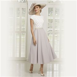 Ronald Joyce 991506 Dress With Diamante Bodice Taupe