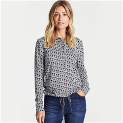 Gerry Weber Printed Blouse With Tie Front Navy