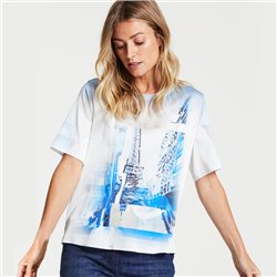 Gerry Weber Printed Top With Stripe Sleeves Off White