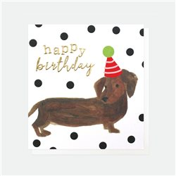 Caroline Gardner Happy Birthday Sausage Dog Card White